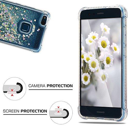 Funda Huawei P10 Lite, Caselover 3D Bling Silicona TPU Arena Movediza Lentejuelas Carcasa para Huawei P10 Lite Glitter Líquido Brillar Cristal Sparkle Protección Caso Suave Transparente Claro Bumper C Plata