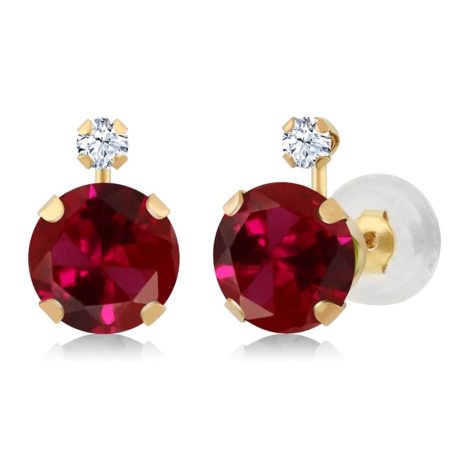 14K Yellow Gold Round Red Created Ruby & White Created Sapphire Women's Earrings (2.08 cttw)