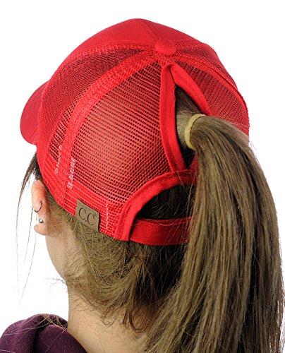 C.C Ponycap Messy High Bun Ponytail Adjustable Mesh Trucker Baseball Cap Hat, ()
