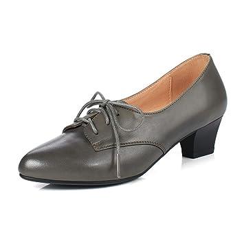 LIANGJUN Mujer Tacones Bajos Zapatos Botines Moda, 3 Colores, 6 Tamaños Disponibles (Color : Gris, Tamaño : EU39=UK6=L:245mm): Amazon.es: Jardín