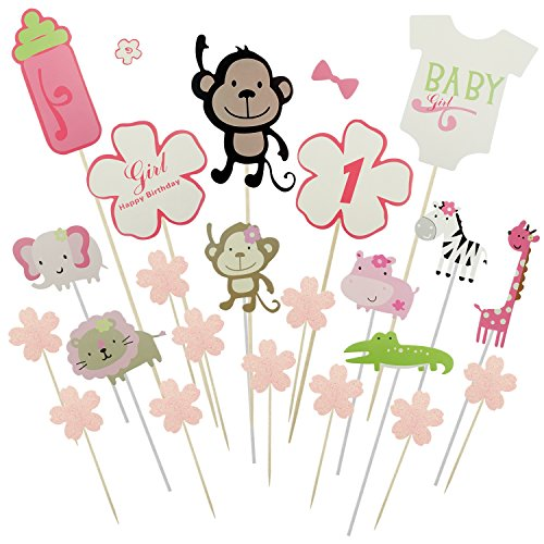 Shxstore Monkey and Animal Cake Toppers Flower Cupcake Picks For Girl Baby Shower 1st Birthday Party Decoration Supplies, 22 Counts