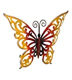TUZECH Metal Designer Handmade Handicraft Gift Item Showpiece Wall Decor -Large Colourful Butterfly (Hollow, 1914)