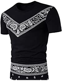 Men's Summer Ethnic Prints Shorts Sleeve Graphics Tees