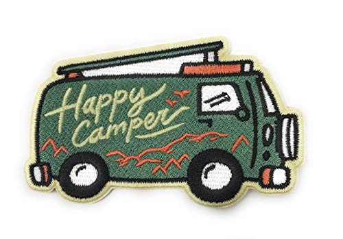 O'Houlihans - Happy Camper Iron on Patch - Camper Van Patch, Adventure Patch, Camper Patch, Camping Patch - Perfect Patch for Backpacks, Hats, Jackets