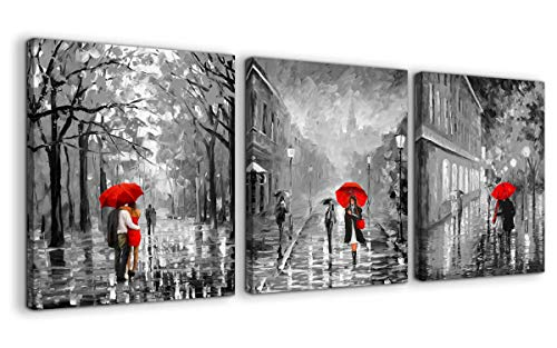Paris Canvas Wall Art for Bedroom Black and White Romance Rainy City Street View Red Umbrella People Picture Wall Decoration 3 Pieces Print Artwork Ready to Hang for Home Bathroom Modern Wall Decor