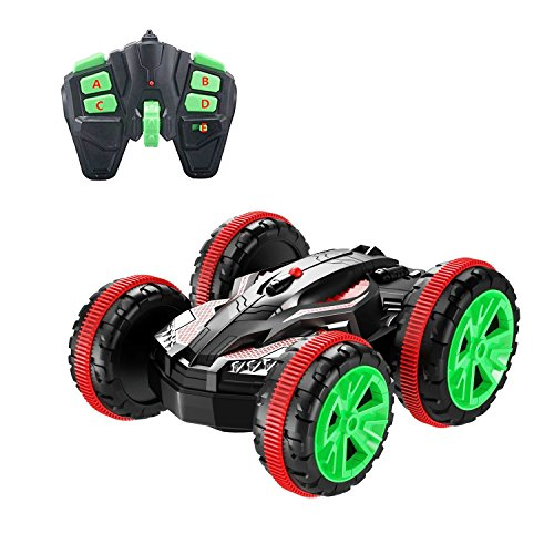 Blexy Remote Control Car Boat RC Stunt Car 4WD 6CH 2.4Ghz Land Water Multifunction Amphibious Tank Double Sided Off Road Electric Racing Vehicle 360 Degree Spins and Flips