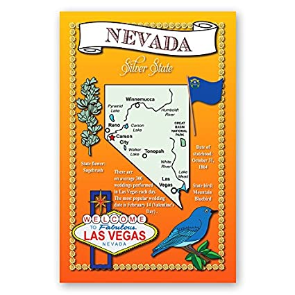 Amazon Nevada State Map Postcard Set Of 20 Identical Postcards