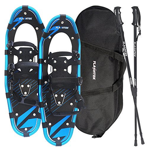 Flashtek Snowshoes for men and women, Light Weight Aluminum Terrain Snowshoes + Pair Anti-Shock Adjustable Snowshoeing Pole + Free Carrying Tote Bag