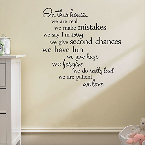 thoothy Wall Sticker Quote In This House We Are Real Home Decal Family Vinyl Wall Sticker Quotes Lettering Words Living Room Backdrop Decorative Decor -