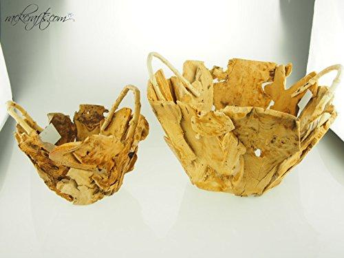 rackcrafts.com Decorative Wooden Baskets - 15.5'' Chipped Wood (2 pc set) Wedding Garden Flower Girl Basket by rackcrafts.com (Image #3)