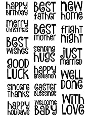 Huge Congratulation Happy Birthday Just Married Happy Holiday Best Father Best Mother Greeting Words Easter Blessings Silicone Stamps for Card Making and Scrapbooking Handmade Craft Paper craft …