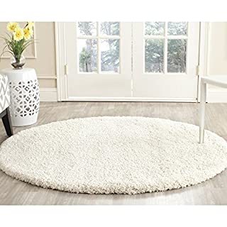 "Safavieh Milan Shag Collection SG180-1212 Ivory Round Area Rug (5'1"" Diameter) (B00G4ISR3O) 