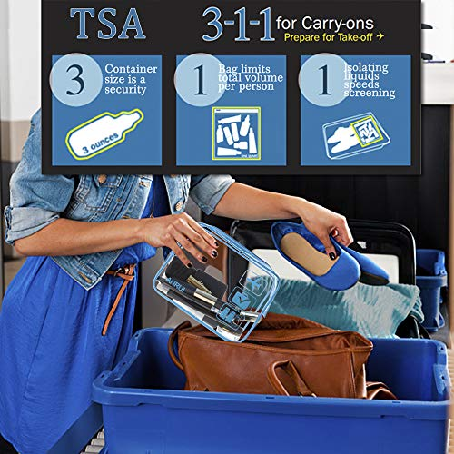 ANRUI Clear Toiletry Bag TSA Approved Travel Carry On Airport Airline Compliant Bag Quart Sized 3-1-1 Kit Travel Luggage Pouch 3 Pack (Blue)