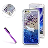 iPhone 5S Case,iPhone SE Case LEECO iPhone 5 Case 3D Glitter Bling Flowing Liquid Floating Moving Hard Protective Cover Case for Apple iPhone 5S / 5 / SE Polar Bear