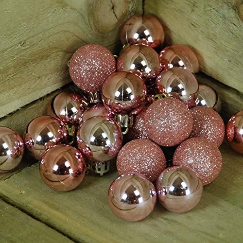 Juego de 24 - Adornos navideños de Oro Rosa de 30 mm. Brillo y Brillo.