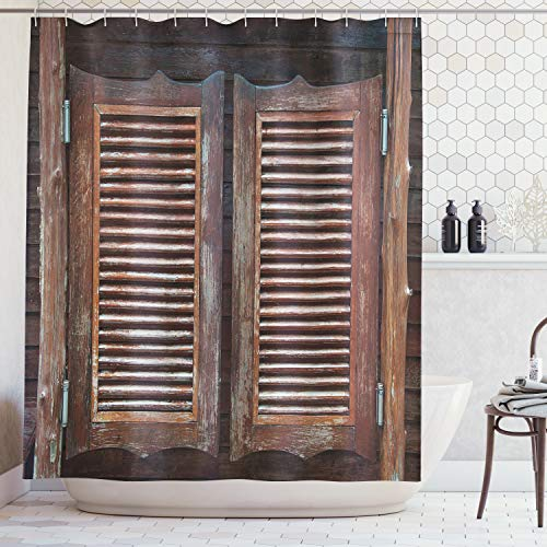 Cowboy Western Door Curtain - Ambesonne Western Decor Collection, Rustic Wild West Swinging Wooden Cowboy Bar Saloon Door Image, Polyester Fabric Bathroom Shower Curtain Set with Hooks, Brown Peru