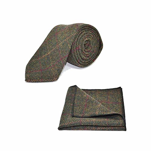 (Heritage Check Moss Green Tie & Pocket Square Set - Tweed, Plaid Country Look)