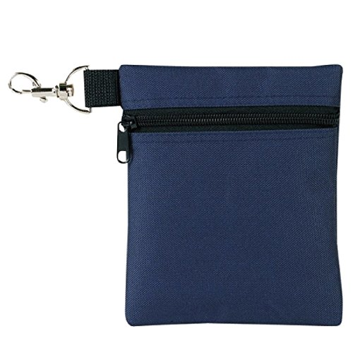 Clip Valuables Pouch - BuyAgain Golf Tee Pouch, 5.62 X 6.87 Inch Professional Zipper Golf Tee/Ball Pouch Bag with Metal Lobster Claw Clip.