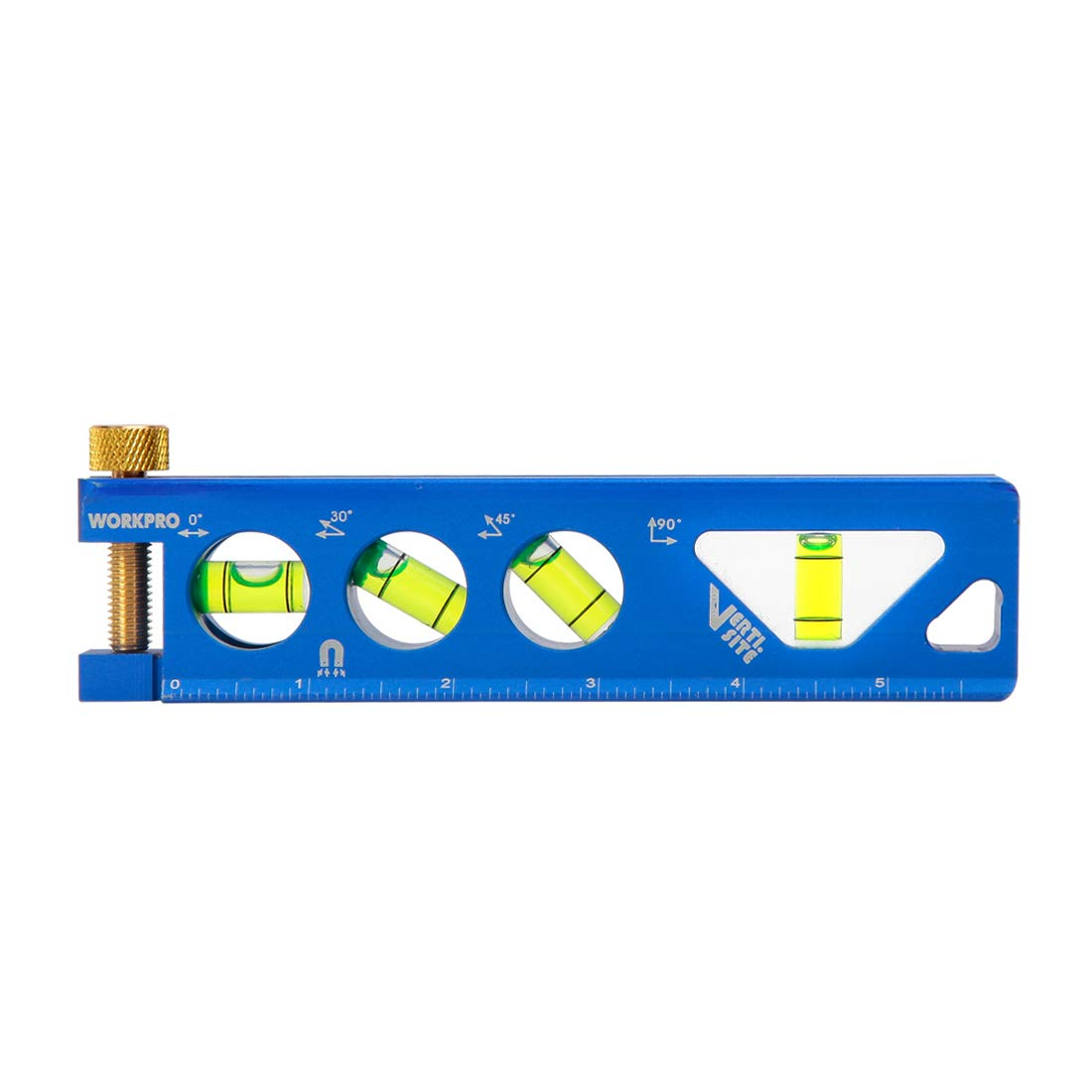 WORKPRO Torpedo Level,Magnetic, Verti. Site 4 Vial for Conduit Bending,Aluminum Alloy Construction,6.5-inch