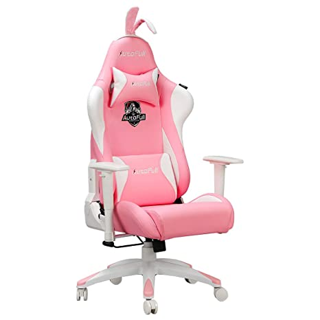 Astonishing Autofull Pink Gaming Chair Pu Leather High Back Ergonomic Racing Office Desk Computer Chairs With Massager Lumbar Support Rabbit Ears Gmtry Best Dining Table And Chair Ideas Images Gmtryco