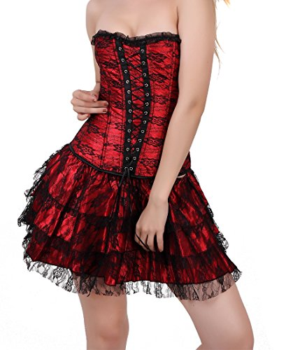FUT Fashion Full-length Side Zip Corset Bustier Outfit With 1 Matched Mini Skirt