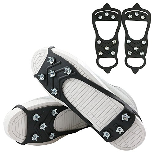 1 Pair of 8 Steel Studs Anti Slip Ice Snow Grips Crampons Women Men Ice Spikers Grippers Walk Traction Cleats Spikers Ice Traction Slip on Boots Shoes (8-Studs-Black, Large:Men:7-11/Women:9+)