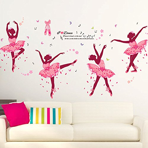 Alrens 74 x 38 Inch DIY Decor Lovely Ballet Girl Art Wall Stickers for Kids Rooms Home Decor Wall Decals Flower Bedroom Decor Butterfly Decoration Stickers - Decor Home Girl