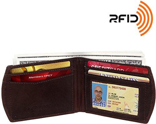 RFID Blocking Wallet - Slim Leather Front Pocket Wallet - Ross Michaels RFID Bifold Wallet (Brown) -