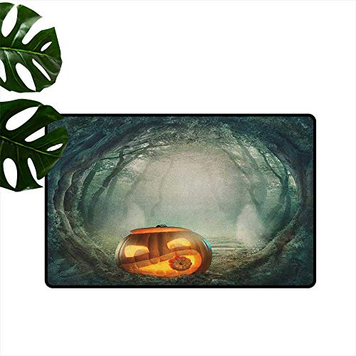 Halloween Printed Door mat Drawing of Scary Halloween Pumpkin Enchanted Forest Mystic Twilight Party Art Environmental Protection W31 x L47 Orange Teal