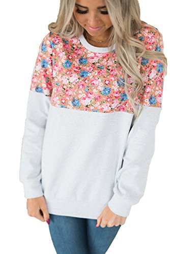 HOTAPEI Women Crewneck Floral Patchwork Pullover Long Sleeve Loose Sweatshirts Casual Shirts Blouses Tops