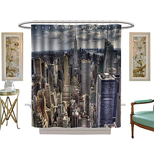 luvoluxhome Shower Curtains 3D Digital Printing an View Over New York City Satin Fabric Sets Bathroom W72 x L72 (New York Yankees Rock)