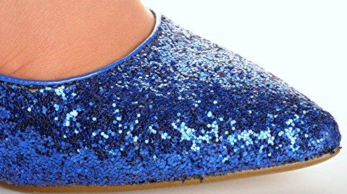Azul Brocado Zapatos Puntiagudo Brillantes Tacones de Novia Zapatos de la Boda Sandalias