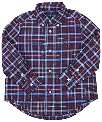 Polo RL Toddler Boy's (2T-5T) Button Down Plaid LS Shirt (3T, Red Multi)