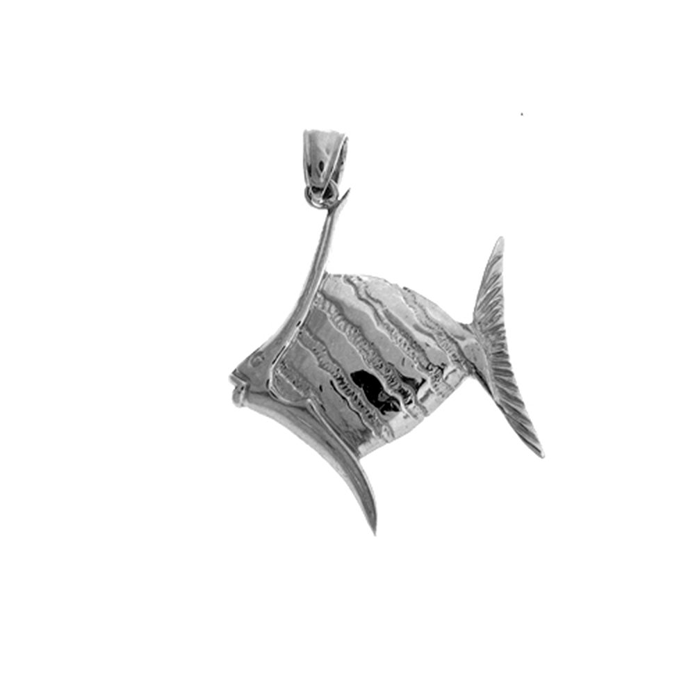 JewelsObsession Sterling Silver 35mm Tropical Angelfish Charm w//Lobster Clasp