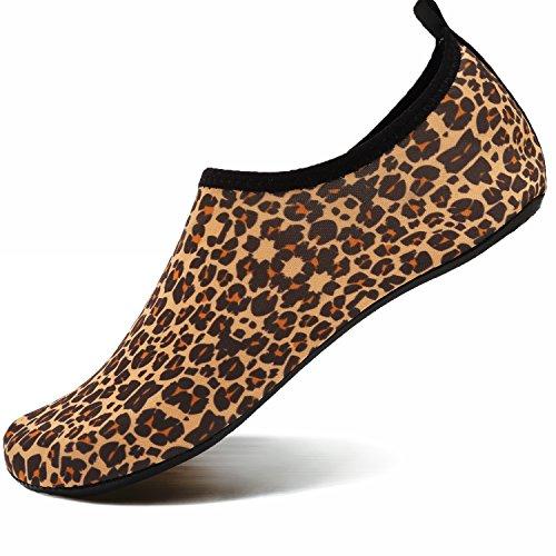VIFUUR Water Sports Shoes Barefoot Quick-Dry Aqua Yoga Socks Slip-on for Men Women Kids Leopard Orange