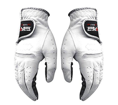 KUNGKEN Mens Premium White Cabretta Soft Golf Glove With Non-Slip Silicone Palm ()