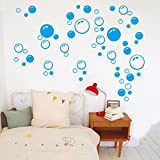 Vacally Wall Stickers Wallpaper Bubbles Circle Removable Bathroom Window Sticker Decal Home DIY For Kids Living Room Bedroom Background (Blue)