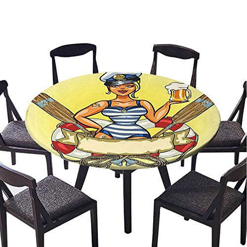 SATVSHOP Round Tablecloth-60 Round-Stain Resistant, Washable, Liquid Spills Bead up,Girly Pinup Sexy Sailor Girl in Lifebuoy with Captain Hat and Costume Glass of Beer Feminine Dign .(Elastic Edge) -