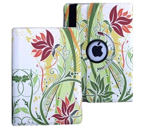 iPad Case Cover Rotating Stand with Wake Up / Sleep Function For Apple ipad 2nd 3rd 4th Generation Model A1395 A1396 A1397 A1416 A1430 A1403 A1458 A1460 or A1459 Green Flower Leaves