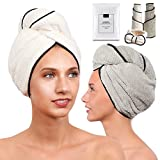 2 Pack Microfiber Hair Towel Set for Women - Drying Twist Wrap for Curly, Long, Thin or Short Hair – Ultra Absorbent & Anti Frizz Turban for Sleeping and Showering (Pearl Ivory White/Grey)