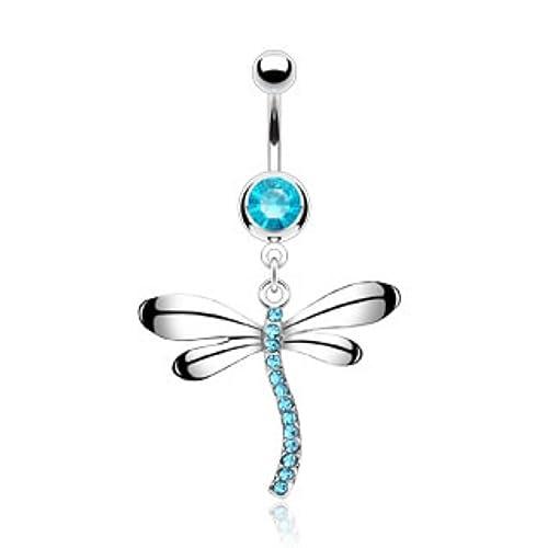 Amazon Com Wildklass Jewelry Dragonfly Gem Dangle With 316l