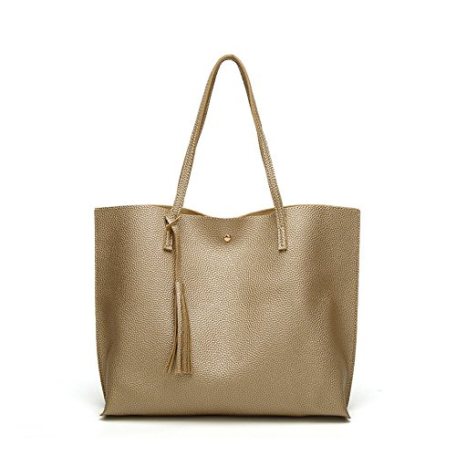 ANSAN Simple Design PU Leather Womens Shoulder Bags Top-Handle Tassel Handbag Tote Purse Bag Gold