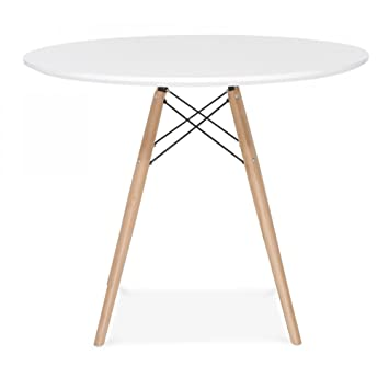 MOF Como Round Dining Table 80/60cm With Beech Wood Legs, Wood, White