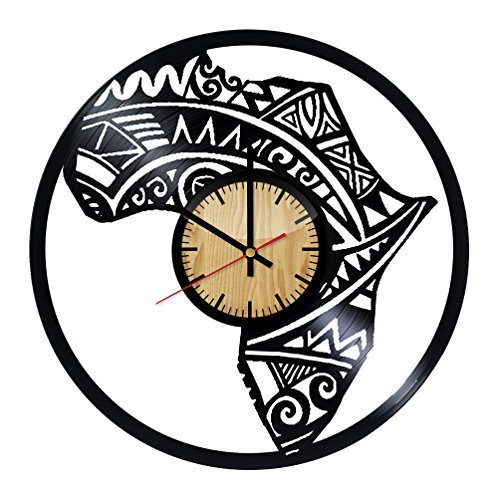 Map of Africa Vinyl Wall Clock – Handmade Gift for any Occasion – Unique Birthday, Wedding, Anniversary, Wall Décor Ideas for any Space by Home & Crafts