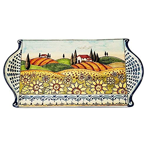 (CERAMICHE D'ARTE PARRINI - Italian Ceramic Art Cheese Tray Plate Appetizer Centerpieces Decorative Sunflower Landscape Tuscan Pottery Hand Painted Made in ITALY )