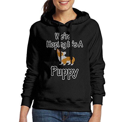 Femmes Nous Espérons Que C'est Un Sweat-shirt De Poche Kangourou Sweat À Capuche Chiot Populaire Noir