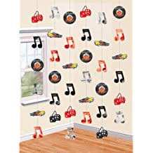 """Nifty 50's Theme Party """"Rock and Roll"""" String Decoration, Paper, 7', Pack of 6"""