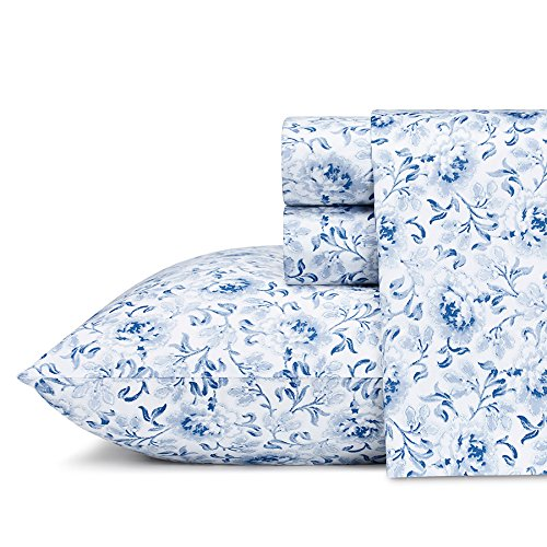 (Laura Ashley Lorelei Cotton Sheet Set Queen Blue 4 Piece)