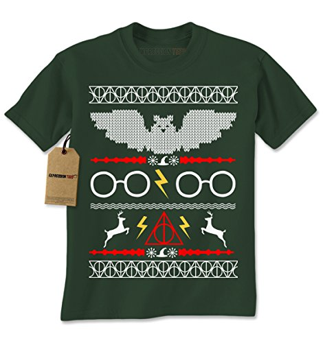 Mens Harry Potter Fawkes Gryffindor Ugly Christmas Sweater T-Shirt X-Large Forest Green (Harry Potter Themed Costumes)