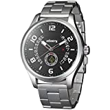 INFANTRY Mens Aviator Pilot Military Army Analog Silver Stainless Steel Sports Wrist Watch, Silver